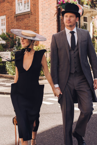 Tap and buy: Nadia Fairfax, wearing her Ascot ensemble, with Nick Adams.