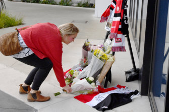 Fans left tributes for Danny Frawley at Moorabbin on Tuesday morning.