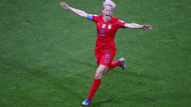 United States' Megan Rapinoe celebrates after scoring her team's ninth goal.