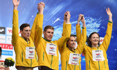 Medley magic: Mitch Larkin, Jake Packard, Emma Mckeon and Cate Campbell.