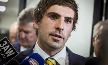 Andrew Gaff leaves the tribunal