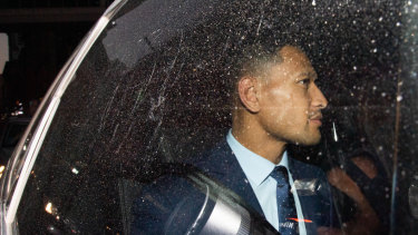 Israel Folau leaves his Rugby Australia code of conduct hearing in Sydney on Tuesday.