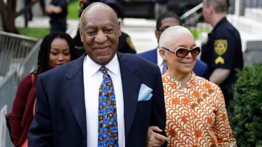 Bill Cosby arriving at court with his wife, Camille.