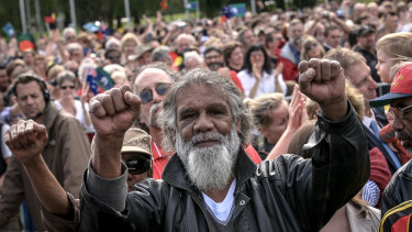 Reg Edwards on the lawns in front of Old Parliament House during Kevin Rudd's apology in 2008.