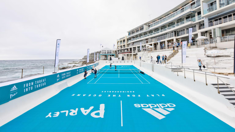 Icebergs pool was transformed into a tennis court.