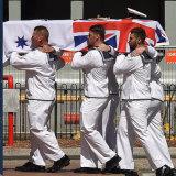 Members of the HMAS Melbourne carrying the coffin of Captain John Stevenson