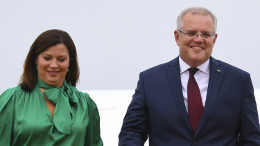 Australian Prime Minister Scott Morrison (right) and his wife Jenny at Noi Bai Airport in Hanoi, Vietnam, on Thursday.