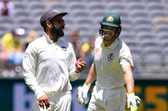 Indian captain Virat Kohli (left) and Australian captain Tim Paine entertained Perth Stadium the last time the tourists toured.