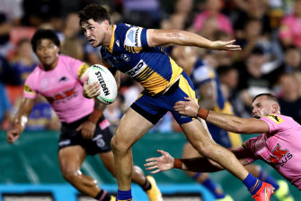 Mitchell Moses attempts to race clear in the trial against the Panthers at Panthers Stadium.