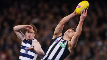 Mixed fortunes: Geelong's Gary Rohan struggled for form, but Darcy Moore's strong comeback from injury was another great sign for the Magpies.