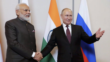 Russian President Vladimir Putin, right, and Indian Prime Minister Narendra Modi at the BRICS Summit in Brazil.
