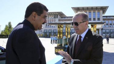 Turkish President Recep Tayyip Erdogan, right, welcomes Nicolas Maduro to Ankara last year.