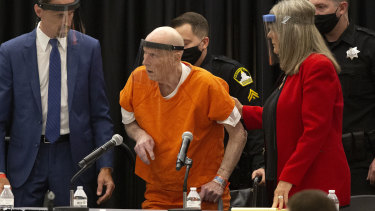 Joseph James DeAngelo, centre, during his trial before pleading guilty to being the Golden State killer.