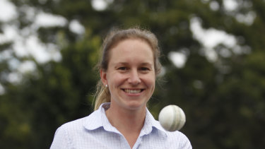 Claire Polosak is the fourth umpire in the third Test.