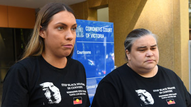 Tanya Day's daughters Apryl Watson, left, and Belinda Day address the media outside the coroner's court in Melbourne last year.