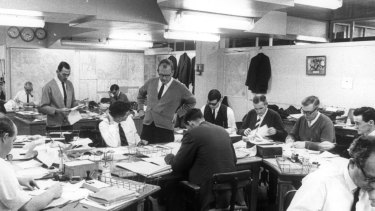The Herald sub-editors' desk, seen here in 1968, hadn't changed much by the time Richard Glover got there in 1983.