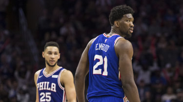 Looking in: MVP contender Joel Embiid has been named an All Star starter, while teammate Simmons' wait continues.