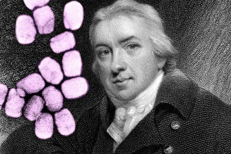 Edward Jenner who discovered vaccination against smallpox (seen here in colour).