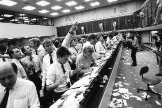 The Melbourne Stock Exchange on Black Tuesday, 1987.