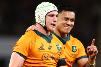Michael Hooper celebrates with Len Ikitau. It was Hooper's 60th Test as captain. He now goes past George Gregan on the all-time Australian list.