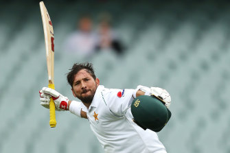 Yasir Shah celebrates his maiden Test hundred.