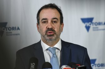 Victoria's Industry Support and Recovery and Tourism Minister Martin Pakula addresses the media on Wednesday.