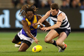 Nic Naitanui and Patrick Dangerfield vie for the ball during Friday night's semi-final.