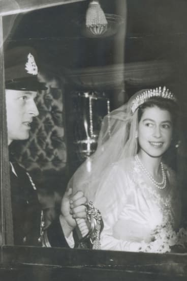 Queen Elizabeth and Prince Philip after the ceremony.