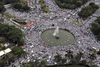 Indonesians Muslims fill the streets of Jakarta rallying against the then governor of Jakarta, Basuki Tjahaja Purnama, whom they accused of blasphemy.