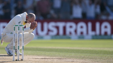 It had all looked so promising: Australia's Nathan Lyon after being hit for 6 by England's Ben Stokes on the fourth day of the 3rd Ashes Test cricket match at Headingley on Sunday.