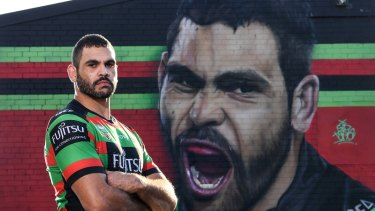 Deadly: Greg Inglis underneath his Redfern mural.