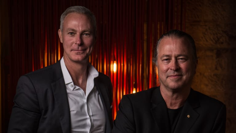 Chef Neil Perry (right) and Rockpool Dining Group chief executive Thomas Pash at Sake restaurant in April.