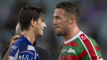 Friendly rivals: Lachlan Lewis and Sam Burgess share a laugh after their Good Friday clash.