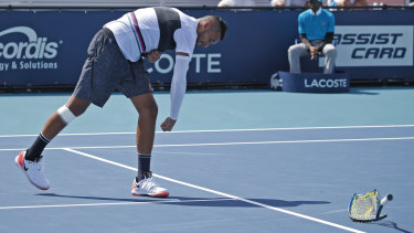 Making a racket: Nick Kyrgios was sanctioned for racquet abuse during the match against Borna Coric.