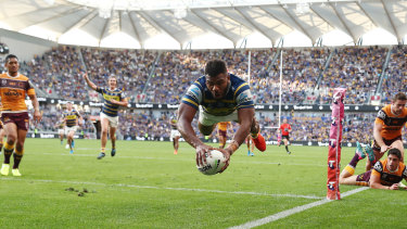 Maika Sivo soars for one of his two tries on Sunday.