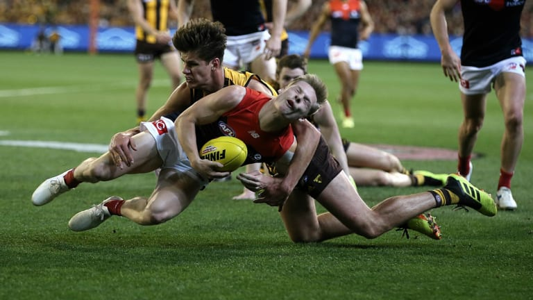 Hawk Daniel Howe's high tackle on Demon Charlie Spargo led to an important goal last night at the MCG.