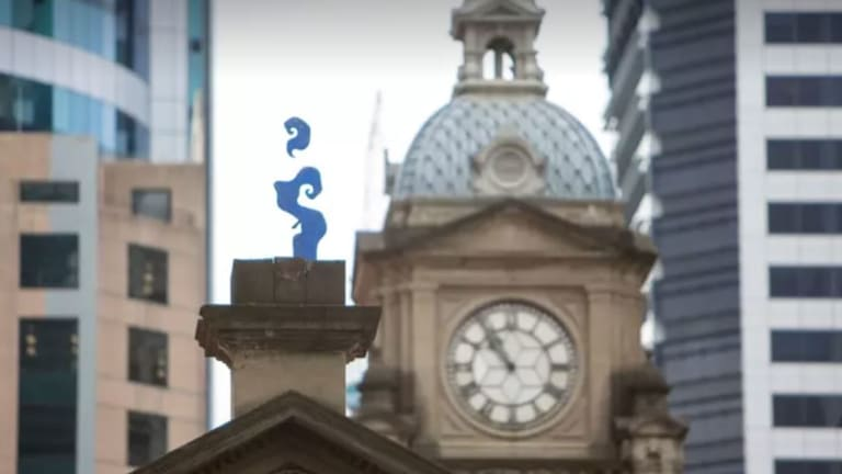 Blu Art Xinja's artwork 'Smoke' which rose from the chimney at Brisbane's Central Station.