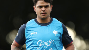 Latrell Mitchell at Sydney Roosters training on Monday.