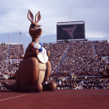 A winking Matilda at the opening ceremony of the 1982 Brisbane Commonwealth Games.