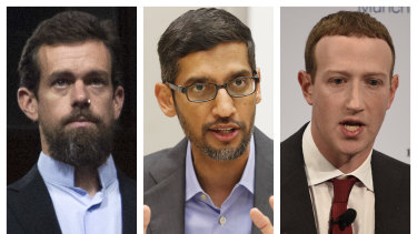 Twitter CEO Jack Dorsey (left), Google CEO Sundar Pichai (centre) and Facebook CEO Mark Zuckerberg.