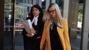 Elaine Stead and barrister Sue Chrysanthou SC outside the Federal Court on Tuesday.
