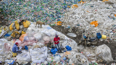 This still from the Anthropocene documentary shows plastics recycling, in Nairobi, Kenya in 2016.