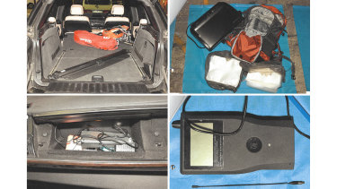 Items seized during the police search including an electronic scanner used to seek out listening devices, a vacuum sealer and plastic bags.
