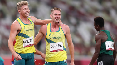 Cedric Dubler and Ashley Moloney of Team Australia react after competing in the Men's Decathlon 1500m.
