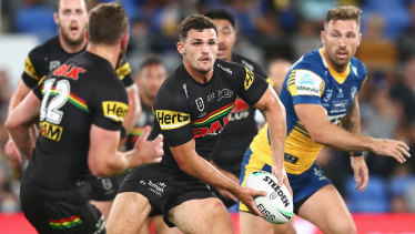 Nathan Cleary runs the ball against the Eels.