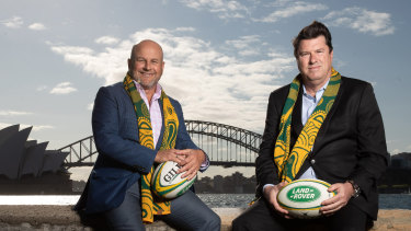 Rob Clarke (left) and Hamish McLennan on the day Australia were awarded hosting rights to the Rugby Championship in 2019.