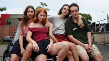 Four long-time friends on the cusp of adulthood in Suburban Wildlife: (from left) Hannah Lehmann, Maddy McWilliam, Priscilla Doueihy and Alex King.