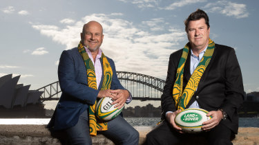 Rugby Australia interim chief executive Rob Clarke (left) and chairman Hamish McLennan (right) after last week's announcement that Australia will host the Rugby Championship.