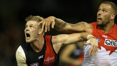 Michael Hurley during a standout performance against Buddy Franklin in July last year.