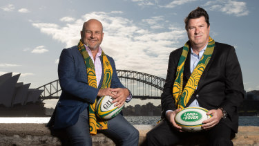 Rugby Australia interim chief executive Rob Clarke and chairman Hamish McLennan after Friday's announcement that Australia will host the Rugby Championship.